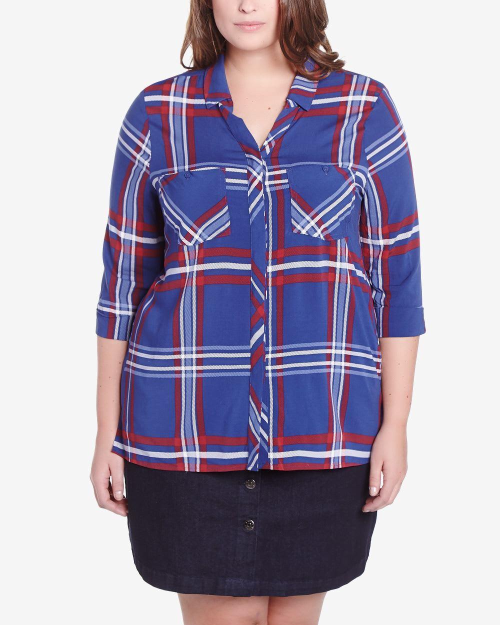 Plus size 3 4 sleeve plaid shirt plus sizes reitmans for Plus size 3 4 sleeve tee shirts