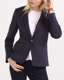 Patterned Long Sleeve Blazer