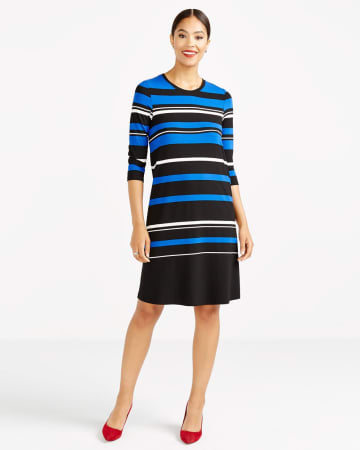 ¾ Sleeve Striped Swing Dress