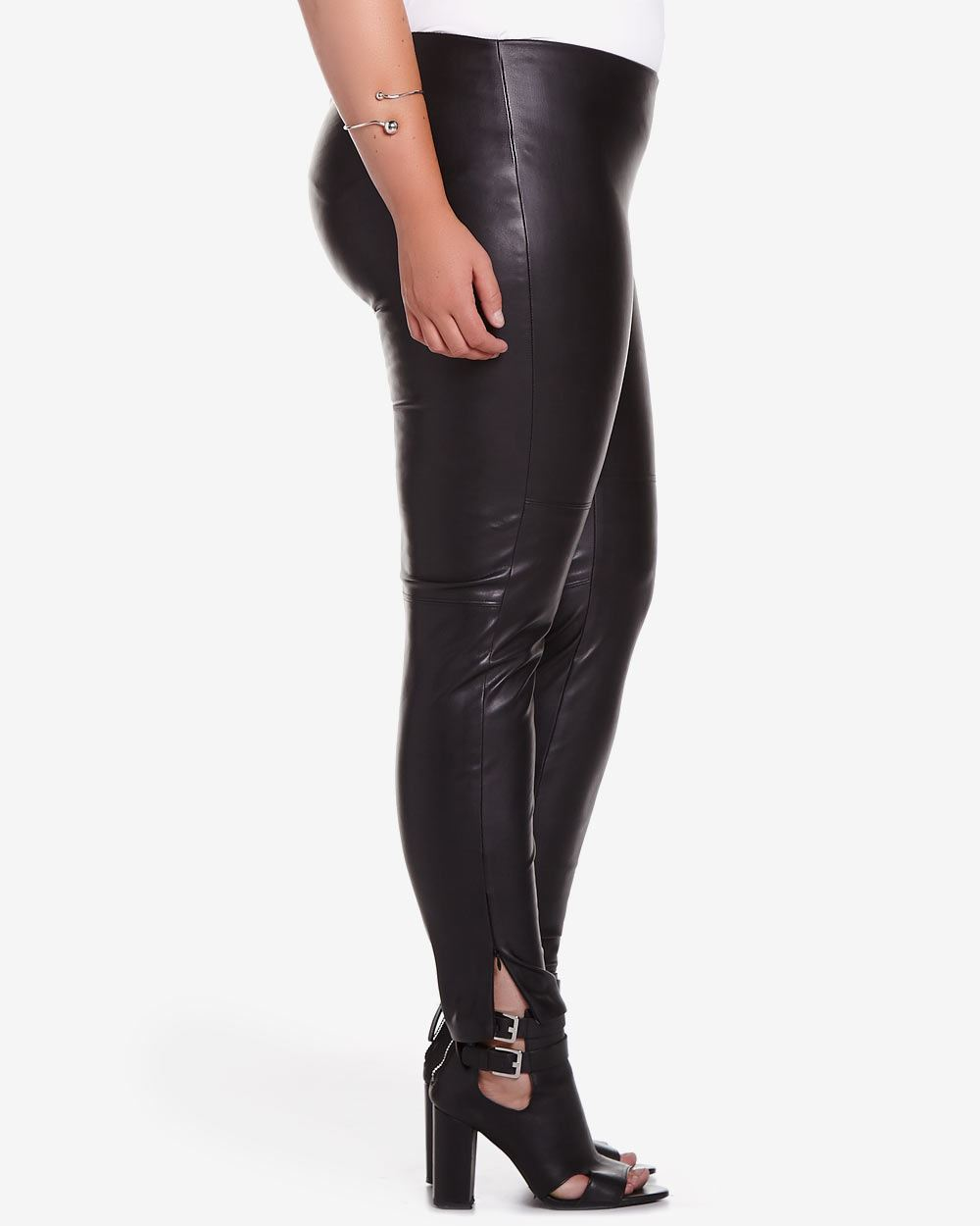 These are our gorgeous plus size Shiny Faux Leather Leggings and they are simply a great fitting, feeling and looking wet look legging. The leather material is a very soft and ultra comfortable faux leather fabric that layers your legs in stylish black leather style.