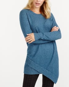 Cross Asymmetric Hem Long Sweater