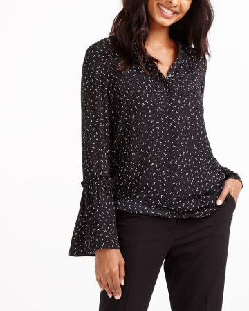 Bell Sleeve Printed Blouse