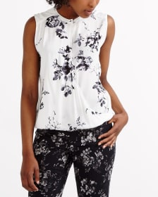 Printed Sleeveless Crossover Blouse