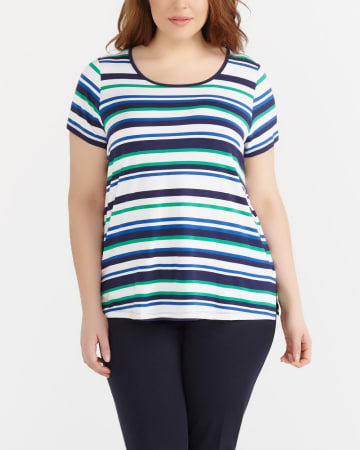Plus Size Short Sleeve Striped Tee