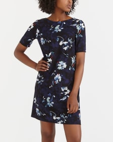 Elbow Sleeve Printed Dress