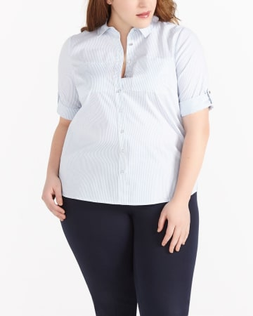 Plus Size 3/4 Sleeve Striped Shirt