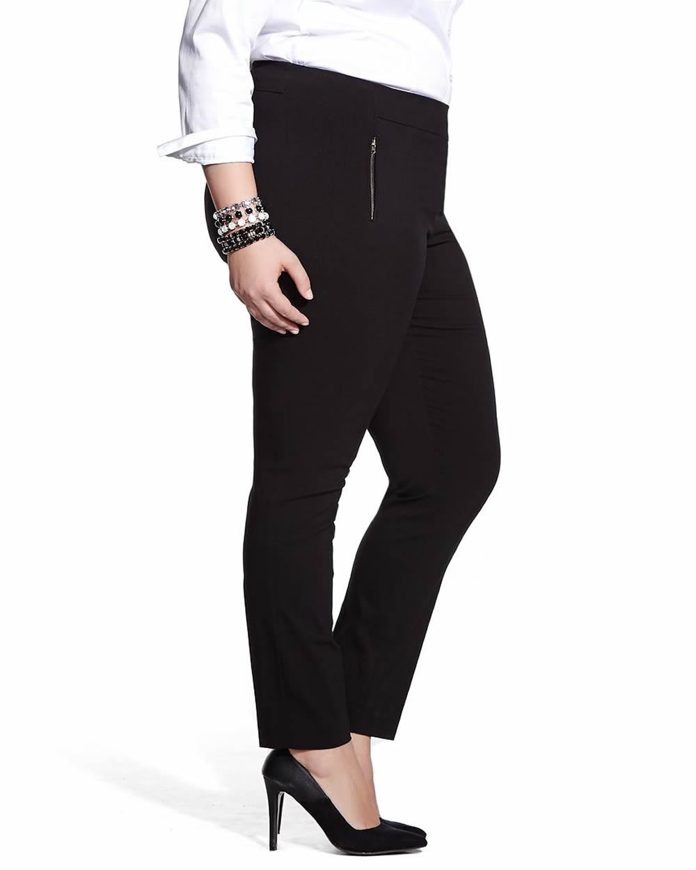 Plus Size Zac & Rachel butter millennium Hollywood waist ankle pants have a faux pockets, interior tummy control panel, and besom pockets. Includes a stretch detail for a comfortable wear. 27 inch inseam. 71% Rayon, 25% Nylon, 4% Spandex.