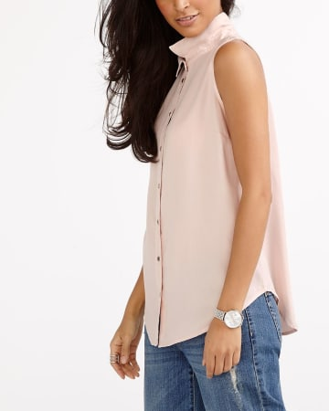 Solid Sleeveless Blouse