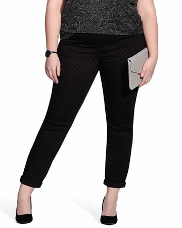 Plus Size Slim Leg Jeans with Flocking Pattern