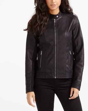 Jersey PU Leather Jacket