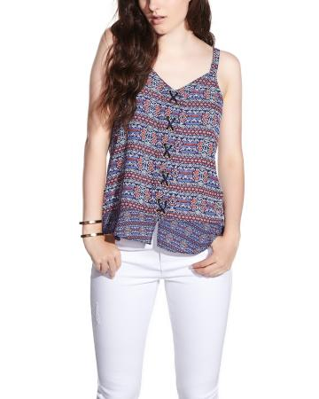 Printed Tank Top with Lace-Up Details