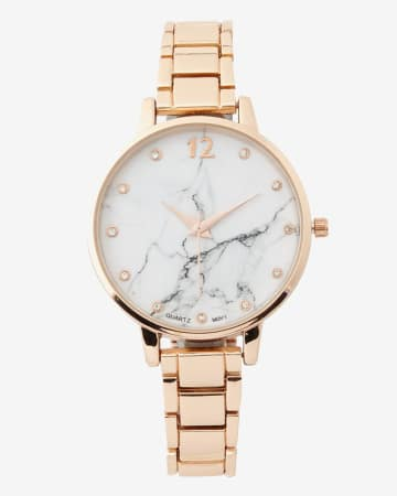 Marble Dial Link Band Wristwatch