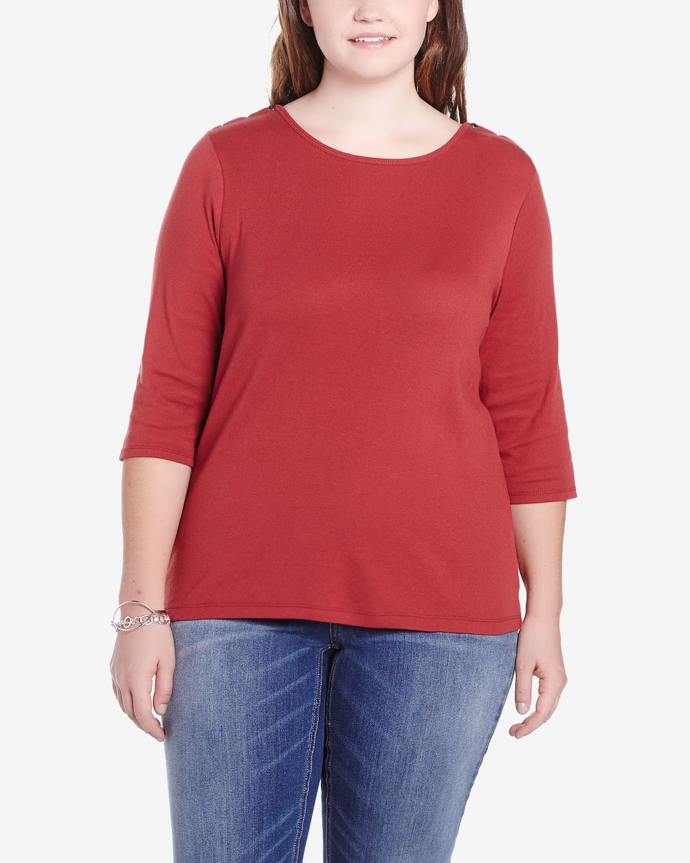 Plus size 3 4 sleeve solid t shirt plus sizes reitmans for Plus size 3 4 sleeve tee shirts