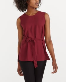 Sleeveless Belted Blouse