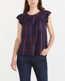 Flutter Sleeve Plaid Blouse