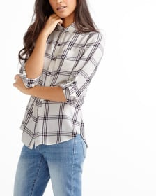 Long Sleeve Plaid Blouse