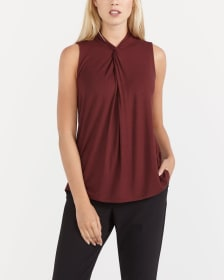 Sleeveless Mock Neck Tee
