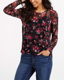 Mesh Ruffle Printed Top