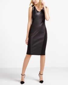 Faux Leather Sleeveless Dress
