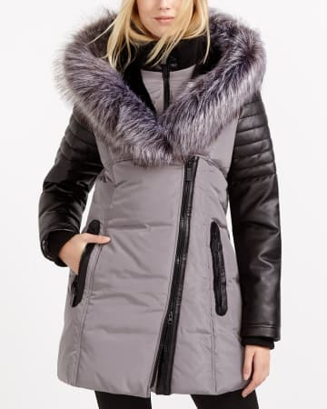 Long Winter Coat with Faux Leather Trim
