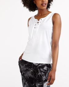 Solid Lace Up Tank