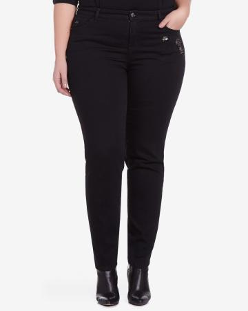 Plus Size Skinny Jeans with Sequin Underlay