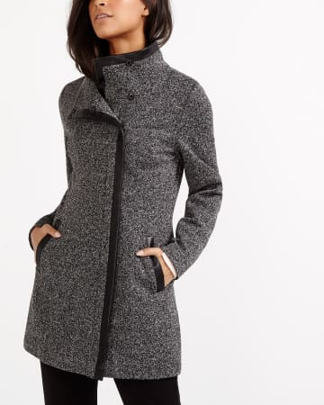 Notch Collar Sweater Coat