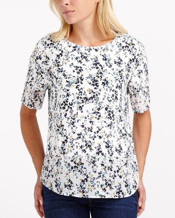 Elbow Sleeve Printed Blouse