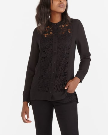 Long Sleeve Blouse with Lace Inserts