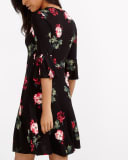 Ruffle ¾ Sleeve Floral Print Dress