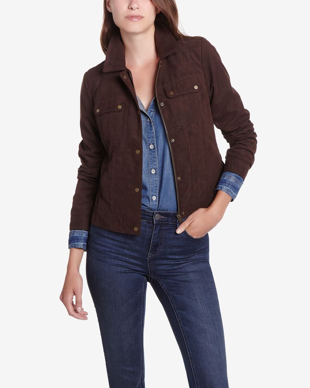 Faux suede jacket women