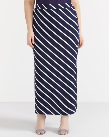 Plus Size Striped Maxi Skirt