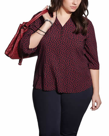 Plus Size 3/4 Sleeve Printed Blouse