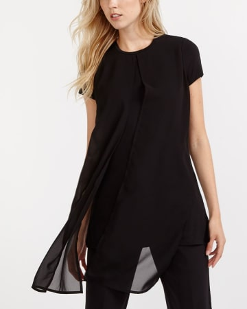 Willow & Thread Long Front Panel Mix Media Tee