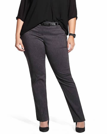 Plus Petite Slim Leg Modern Comfort Striped Pants