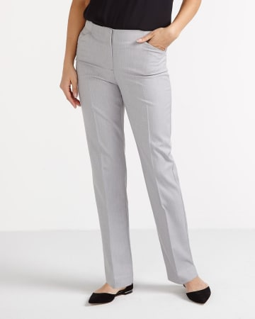 Petite Striped Straight Leg Pants