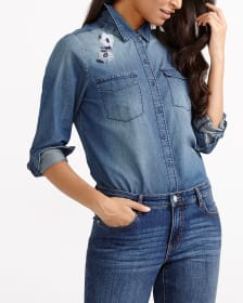 Embroidered Jeans Shirt