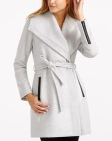 Wrap Coat with Faux Leather Trims