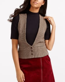 Houndstooth Sleeveless Vest