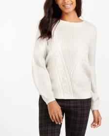 Long Bell Sleeve Cable Knit Sweater