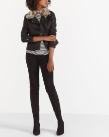 Faux Leather Jacket with Removable Faux Fur Collar
