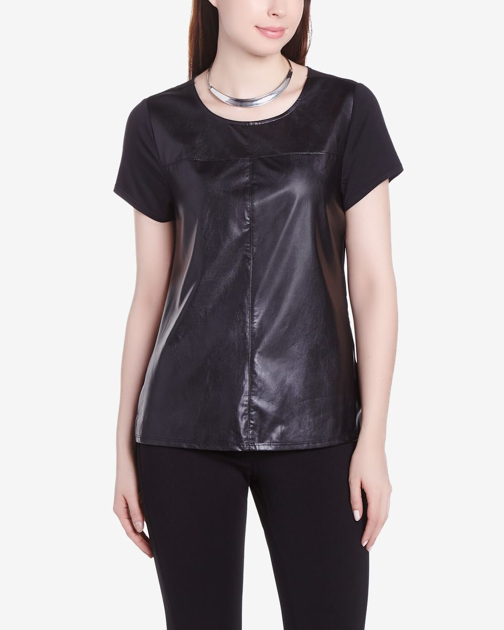 Rock Shine Faux Leather Short Sleeve T Shirt Women