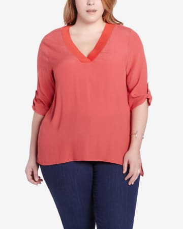 Plus Size 3/4 Sleeve Blouse