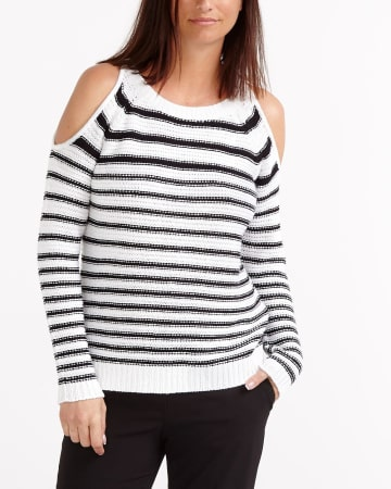 Striped Bare Shoulder Sweater