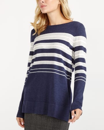 Back Bow Striped Sweater