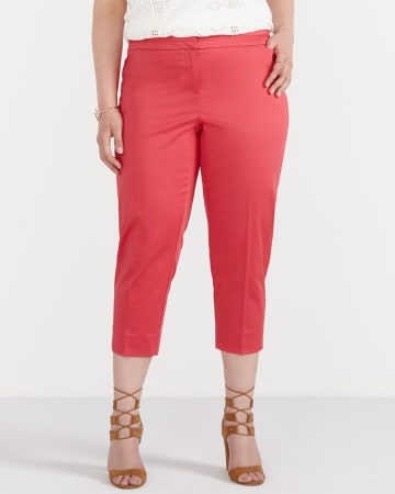 Plus Size Sateen Cropped Pants