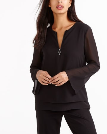 Front Zip Mix Media Blouse