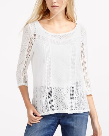 3/4 Sleeve Crochet Top