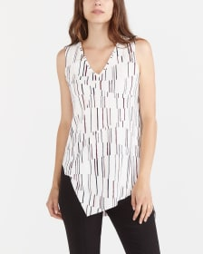 Sleeveless Printed Asymmetric Top