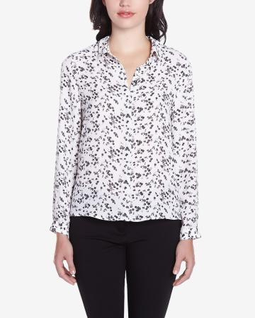 Petite Long Sleeve Printed Shirt